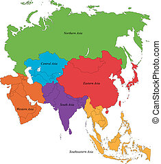 Asia map - Colorful Asia map with six regions