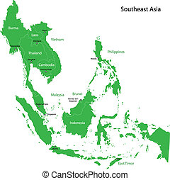 Green Southeastern Asia - Green map of Southeastern Asia...