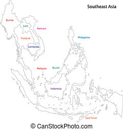 Outline Southeastern Asia - Outline map of Southeastern Asia...