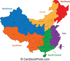 Colorful China map - Color map of the regions and divisions...