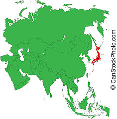 Location of Japan on the Asia continent