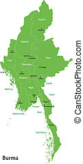 Green Burma map - Union of Myanmar (Burma) map with...