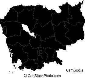 Black Cambodia map separated on the provinces