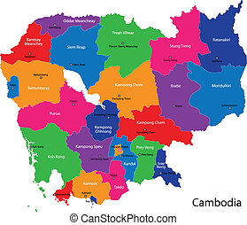 Cambodia map - Map of Kingdom of Cambodia with the provinces...