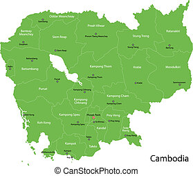 Green Cambodia map - Cambodia map with provinces and capital...