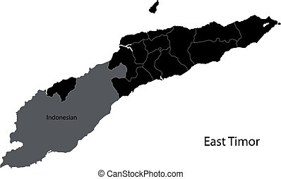 Black East Timor map with districts borders