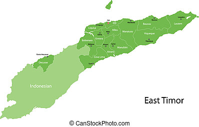 Green East Timor map - East Timor map with districts borders...