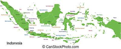 Green Indonesia map - Indonesia map with provinces and...