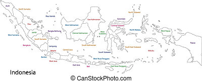 Outline Indonesia map with provinces