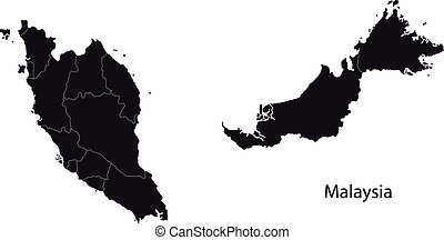 Black Malaysia map separated on the provinces