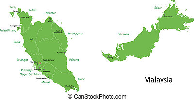 Green Malaysia map - Malaysia map with provinces and capital...