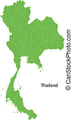 Green Thailand map with regions