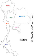 Outline Thailand map