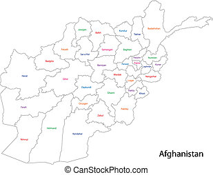 Afghanistan map separated on the provinces