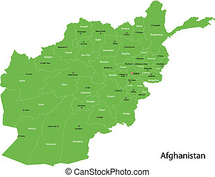 Green Afghanistan map separated on the provinces
