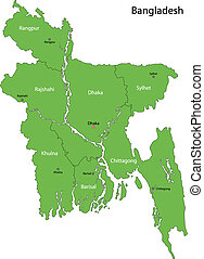 Green Bangladesh map - Bangladesh map with provinces and...