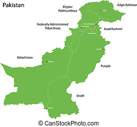 Green Pakistan map - Administrative division of Pakistan map