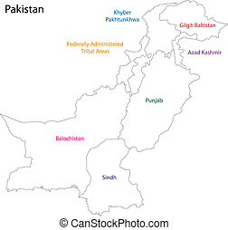 Pakistan map - Administrative division of Pakistan map