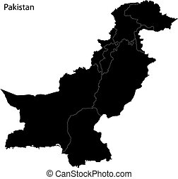 Black Pakistan map - Administrative division of Pakistan map