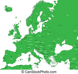 Green Europe map with countries and capital cities