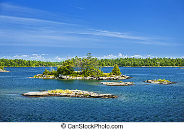Islands in Georgian Bay - Small rocky islands in Georgian...