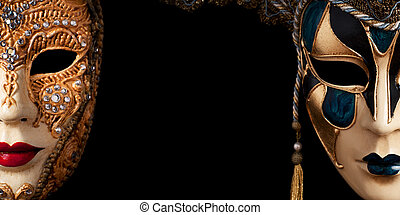 Carnival in Venice image with ample copyspace. Isolated On...
