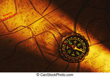shot of the compass on a map