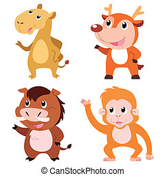 cute animal set - four cute animals with white background