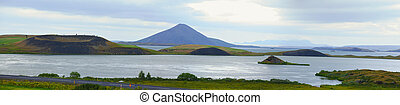 Myvatn - Iceland landscape at summer cloudy day Mountain...