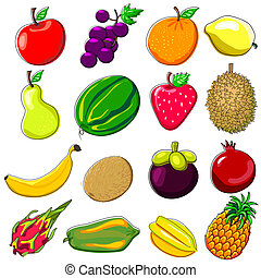 Fresh Fruits Doodle Style - Various Fresh Tropical Fruits...