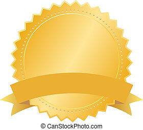 Vector blank gold seal isolated on white