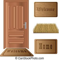 állhatatos, ajtó, gyékényszőnyeg