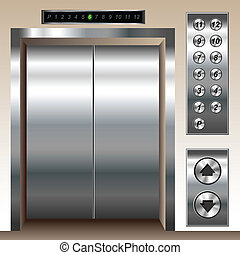 Elevator set with buttons