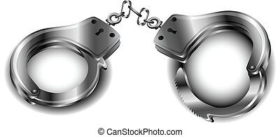 Handcuffs - Metallic handcuffs isolated on white