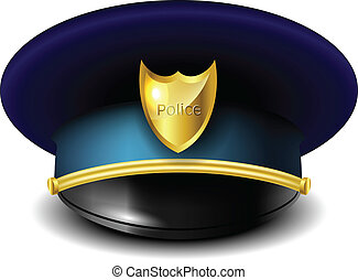 Police hat with golden badge isolated on white eps10