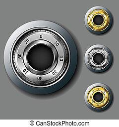 Safe combination lock set - Golden and silver safe...