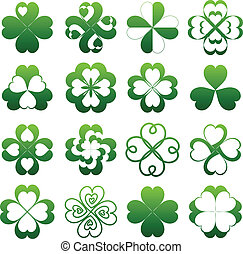 Abstract clover symbol set - Abstract green clover symbol...