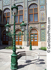 Street light near facade of Golestan palace in Tehran, Iran