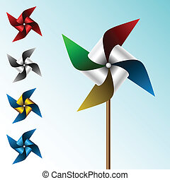 Colorful pinwheel set with different color combinations on...