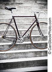 都市, スタイル, 自転車, 階段, 型, コンクリート