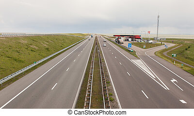 View of the dutch Afsluitdijk in Holland, seperating the...
