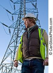 electricidade, frente,  pylon, homem