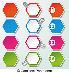 Four Options Paper Hexagons - Four options paper hexagon...