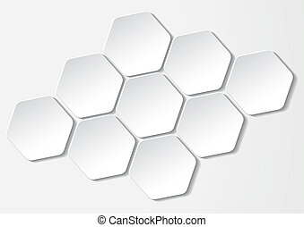 White paper hexagon labels Eps 10 vector file