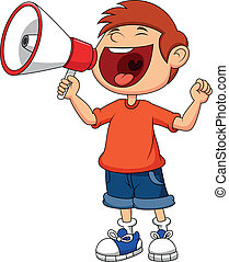 Cartoon boy yelling and shouting in - Vector illustration of...