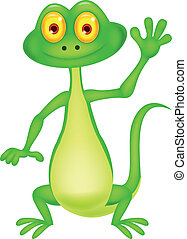 Cute green lizard cartoon waving ha - Vector illustration of...
