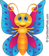Funny butterfly cartoon - Vector illustration of Funny...