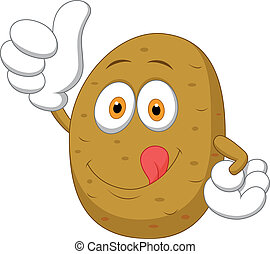 Cute potato cartoon thumb up - Vector illustration of Cute...