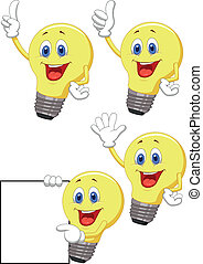 Cartoon light bulb - Vector illustration of Cartoon light...