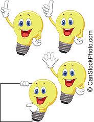 Cartoon light bulb - Vector illustration of Cartoon light...